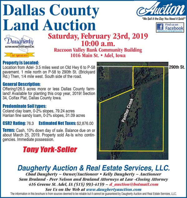 Auctions - Daugherty Auction, Dallas County Land, York