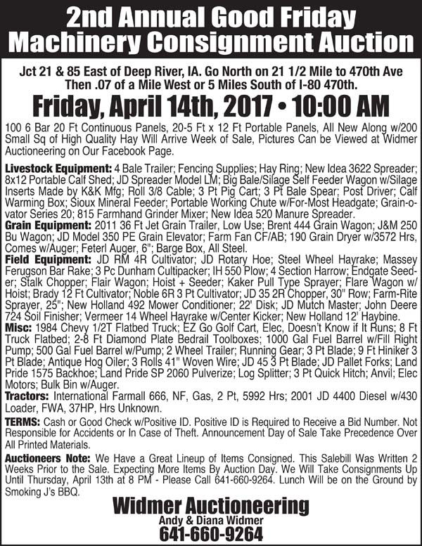 auction list widmer auctioneering 2nd annual good friday