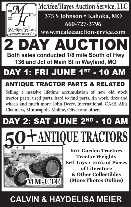 Auction List - McAfee Hayes, Antique Tractor Parts & Related