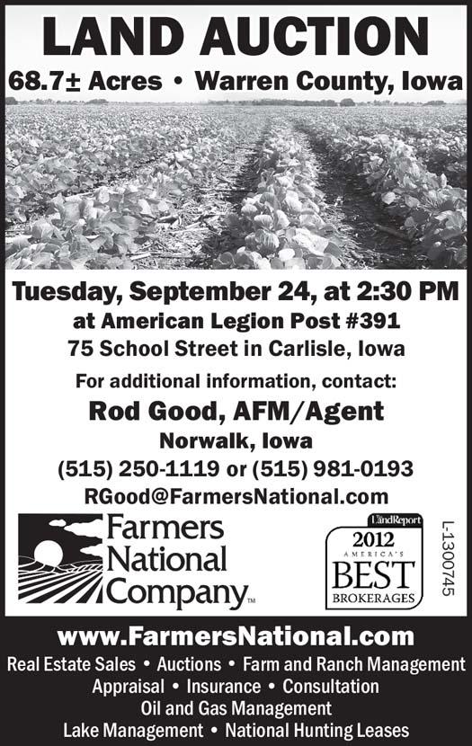 Auctions - Farmers National Company, 68 7 M/L, Warren County, IA