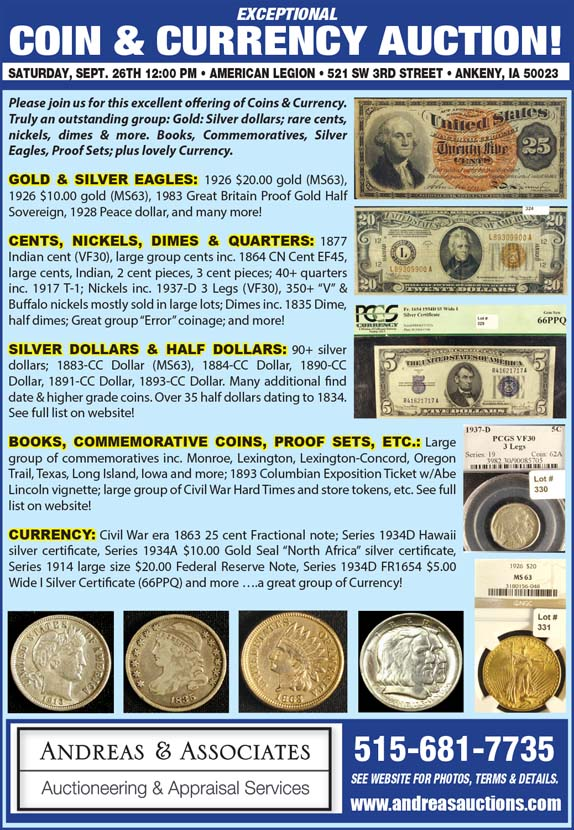 Auctions - Andreas & Associates, Coin & Currency