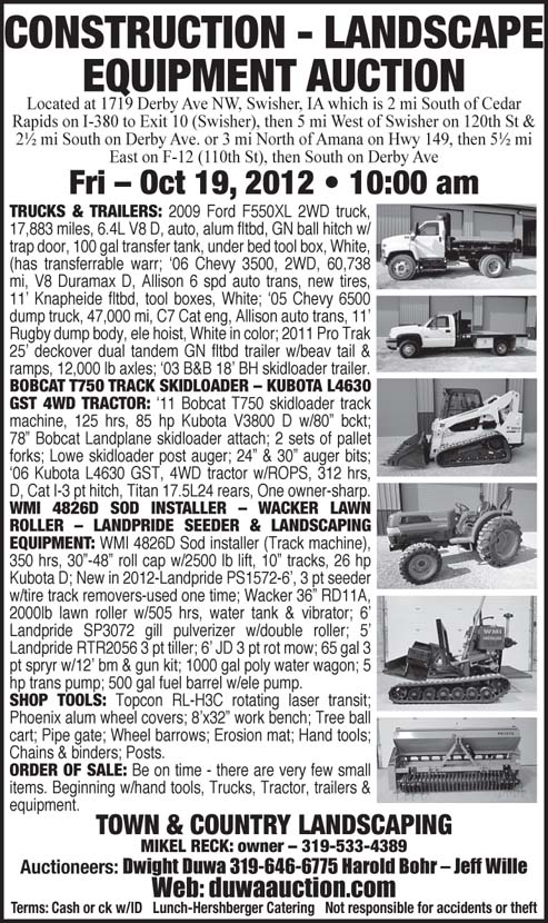 Landscaping Tools Auction : Auction list duwa construction landscape