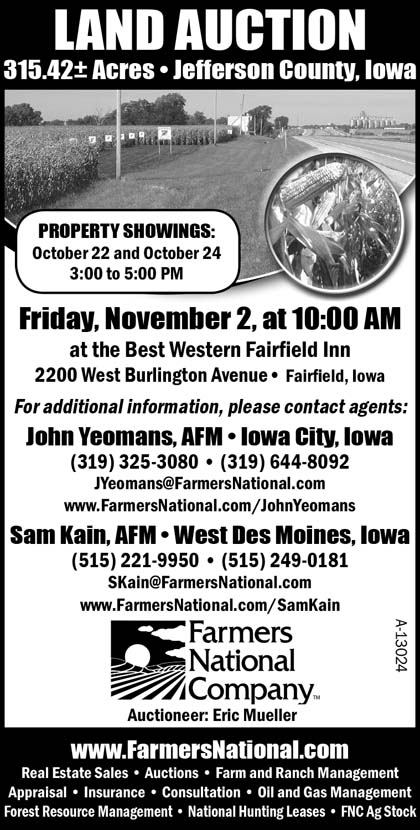 Auctions - Farmers National Company, Land, 315 42 M/L Acres