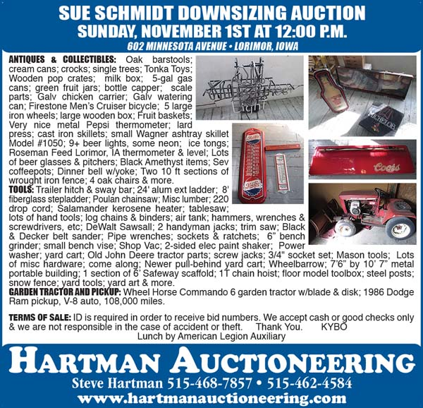 Auction list hartman auctioneering antiques for Gardening tools list pdf